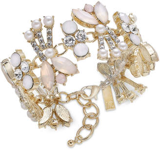 INC International Concepts I.N.C. Gold-Tone Crystal, Pink Stone & Imitation Pearl Bracelet, Created for Macy's