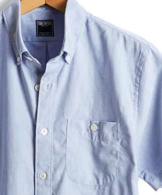 Todd Snyder Short Sleeve Pique Button Down Shirt in Blue