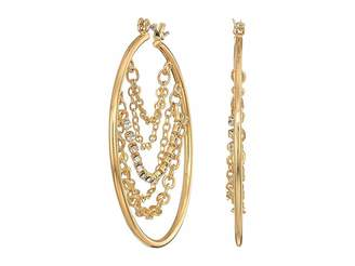 GUESS Hoop with Draped Chains and Stones Inside Earrings