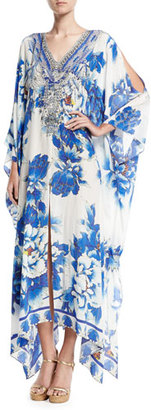 Camilla Split-Detail Embellished Silk Caftan Coverup, Ring of Roses $700 thestylecure.com
