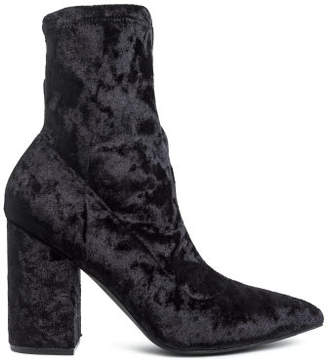 H&M Crushed velvet ankle boots - Black