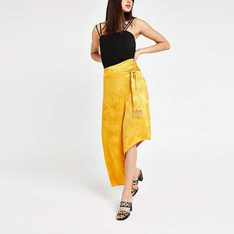 River Island Yellow snake jacquard midi skirt