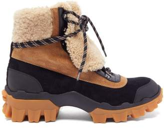 Moncler Harriet Leather, Suede And Shearling Hiking Boots - Womens - Black Tan