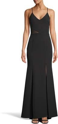 Xscape Evenings Illusion Waist V-Neck Gown