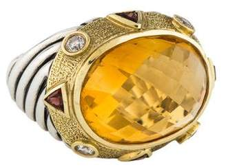 David Yurman Citrine, Tourmaline & Diamond Renaissance Ring