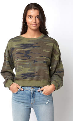 Z Supply Oversized Fleece Camo Crop Pullover
