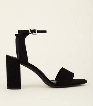 New Look Black Suedette Block Heel Sandals