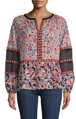 Laundry by Shelli Segal Floral Peasant Blouse