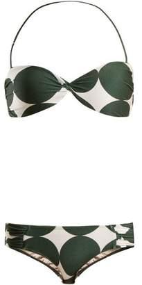 Adriana Degreas - Spot Print Bandeau Bikini - Womens - Green Multi