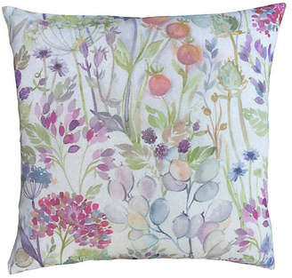 One Kings Lane Vintage Scottish Linen Floral Print Down Pillow