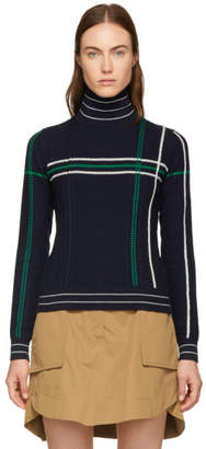 Carven Navy Grid Stripe Turtleneck