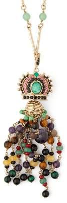 Etro Crown Beaded Tassel Pendant Necklace - Womens - Green