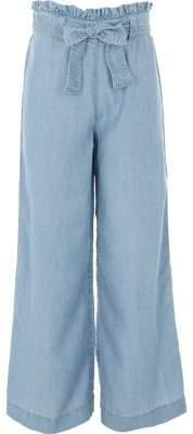River Island Girls light blue wide leg denim pants