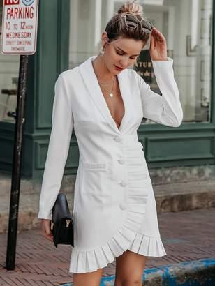 Shein Simplee Ruffle Trim Button Front Pocket Blazer Dress