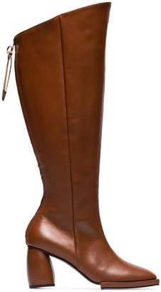 Reike Nen brown square toe 90 leather knee high boots
