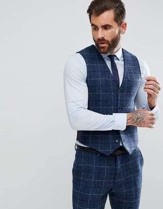 Asos DESIGN Slim Suit Vest in 100% Wool Harris Tweed Herringbone In Blue Check