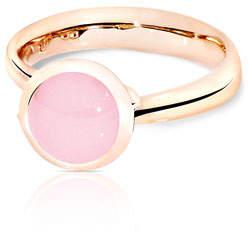 Tamara Comolli Bouton 18k Rose Gold Pink Chalcedony Ring, Size 7/54