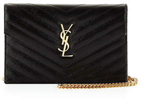 Saint Laurent Monogram Matelassé Small Envelope Wallet-on-Chain $1,275 thestylecure.com