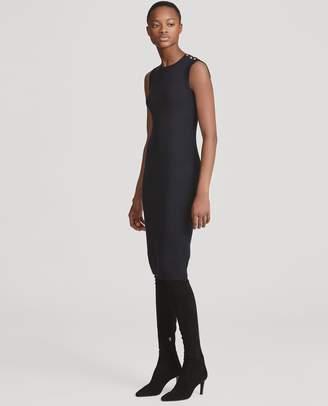 Ralph Lauren Button-Trim Silk Sweater Dress