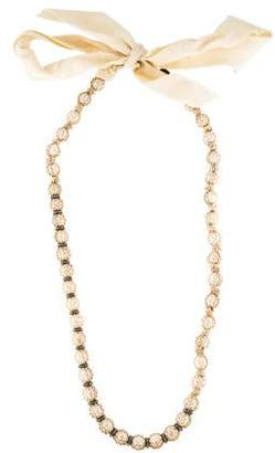 Lanvin Faux Pearl & Crystal Wrapped Bead Necklace