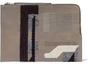 Rick Owens Bead-Embellished Appliquéd Leather Clutch