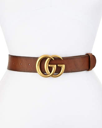 Gucci Leather Logo-Buckle Belt $420 thestylecure.com