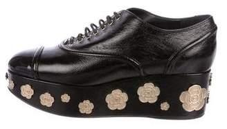 Chanel Camellia CC Leather Oxfords