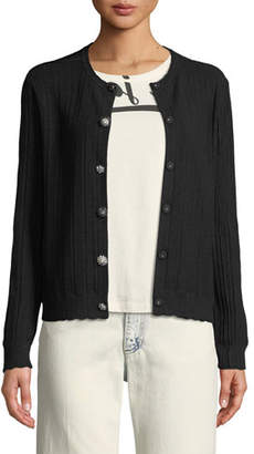 Marc Jacobs Crewneck Jewel-Button Ribbed Wool-Silk Cardigan