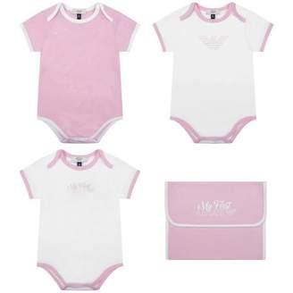 Armani Junior Armani JuniorBaby Girls White & Pink Bodysuits Gift Set