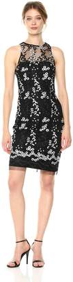 Betsey Johnson Women's Sleevless Embroidered Sheath Dress, Black/White