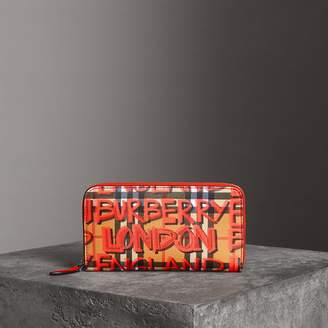 Burberry Graffiti Print Vintage Check Leather Ziparound Wallet