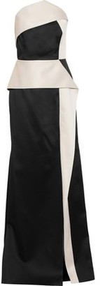 Roland Mouret Strapless Two-Tone Satin-Crepe Gown