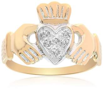 14K Yellow Gold 0.70 Ct Diamonds Irish Claddagh Ring Size 7.5