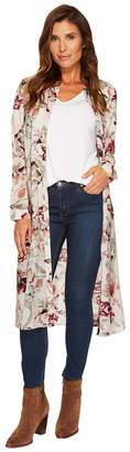 Tribal Printed Floral Duster Shirt Women's Long Sleeve Button Up
