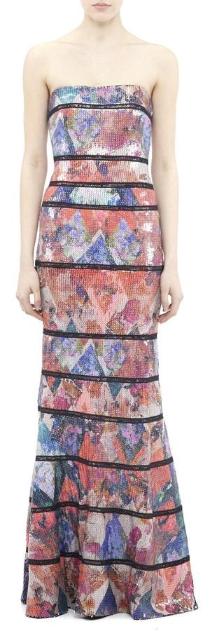 Nicole Miller Blue Eden Sequin Gown