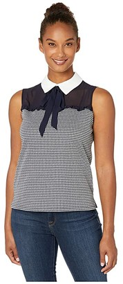 CeCe Sleeveless Collared Top with Houndstooth
