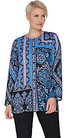 Bob Mackie Bob Mackie's Placement Print Button FrontWoven Tunic