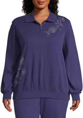 Alfred Dunner Comfortable Situation Quarter Zip Sweatshirt - Plus
