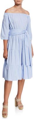 Zhu Esteli Tiered Off-the-Shoulder Pinstripe Midi Dress