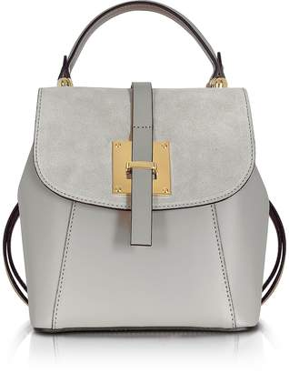 Le Parmentier Palazia Pearl Gray Suede and Leather Small Backpack