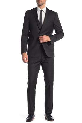 Tommy Hilfiger Charcoal Burgundy Plaid Two Button Notch Lapel Classic Fit Suit