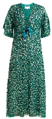 Luisa Beccaria Bow Trimmed Sequinned Chiffon Dress - Womens - Green