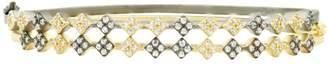 Freida Rothman Rose d'Or 14K Yellow Gold & Black Rhodium Plated Pave CZ Double Hinge Bangle