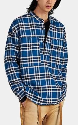 Fear Of God Men's Plaid Cotton Flannel Henley Shirt - Blue