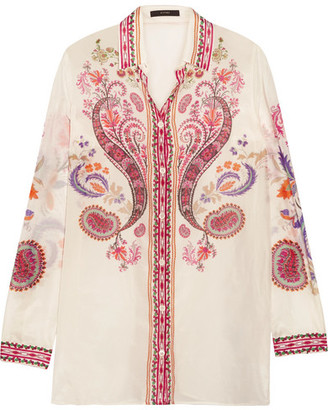 Etro - Printed Silk And Cotton-blend Shirt - White $550 thestylecure.com