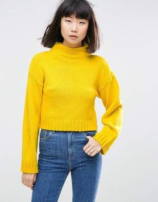 ASOS Chunky Sweater In Crop With High Neck $38 thestylecure.com