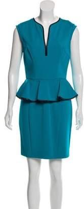 ABS by Allen Schwartz Leather-Trimmed Peplum Dress