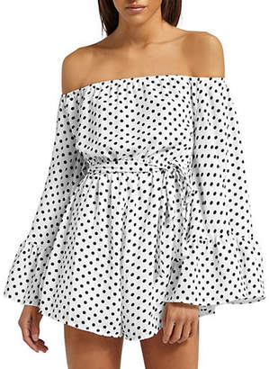 Missguided Polka Dot Bardot Bell-Sleeve Romper