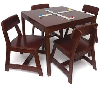 Lipper Child's 5 Piece Square Table and Chair Set, Cherry Finish