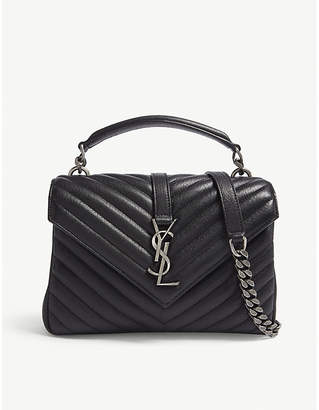 Saint Laurent Storm Grey and Silver Elegant Monogram Collége Quilted Leather Satchel